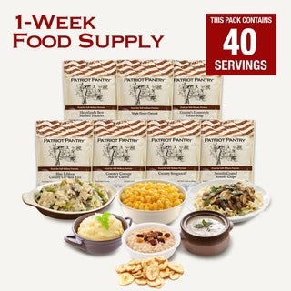 1-week Emergency Food Supply, 25-year Shelf Life, 8 Delicious Recipes, Last One Adult 7 Days 40 Servings for Long-term Storage