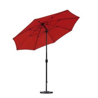 Lauren and Company Sunset-orange Aluminum/Fiberglass/Olefin 9-foot Auto-tilt Umbrella with Base