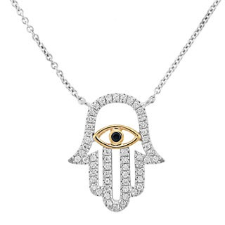 Meredith Leigh 14k Gold and Sterling Silver Zircon Hamsa Hand Necklace