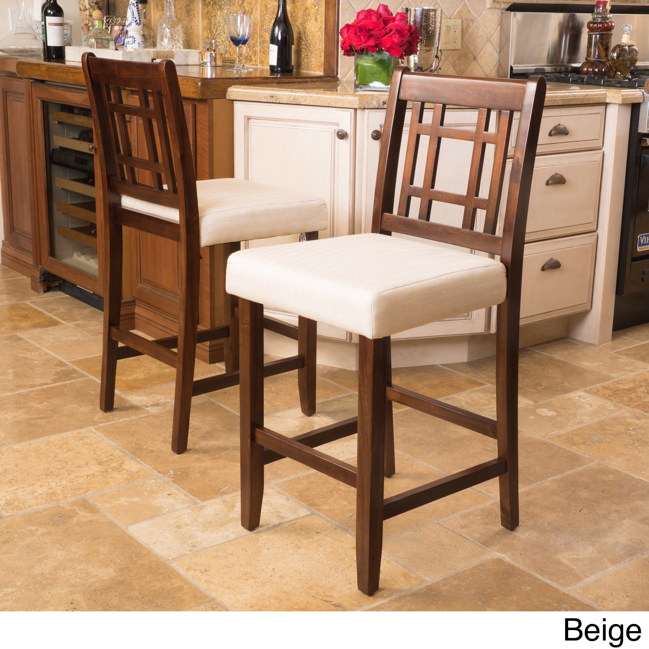 Nadia Acacia 26 Inch Wood Counter Stool Set Of 2 By Christopher