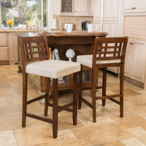 Nadia 30-inch Acacia Wood Barstool (Set of 2) by Christopher Knight Home - N/A
