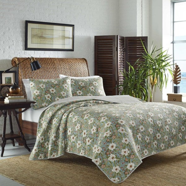 Tommy Bahama Havana Garden Blue Cotton Quilt Set