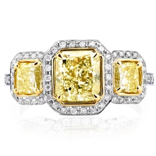 Annello by Kobelli 14k Two Tone Gold Certified 2ct TDW Fancy Yellow Diamond Three Stone Halo Radiant