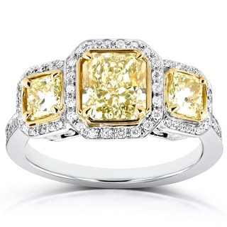 Annello by Kobelli 14k Two Tone Gold Certified 2 2/5ct TDW Fancy Yellow Diamond Three Stone Halo Radiant Cut Ring