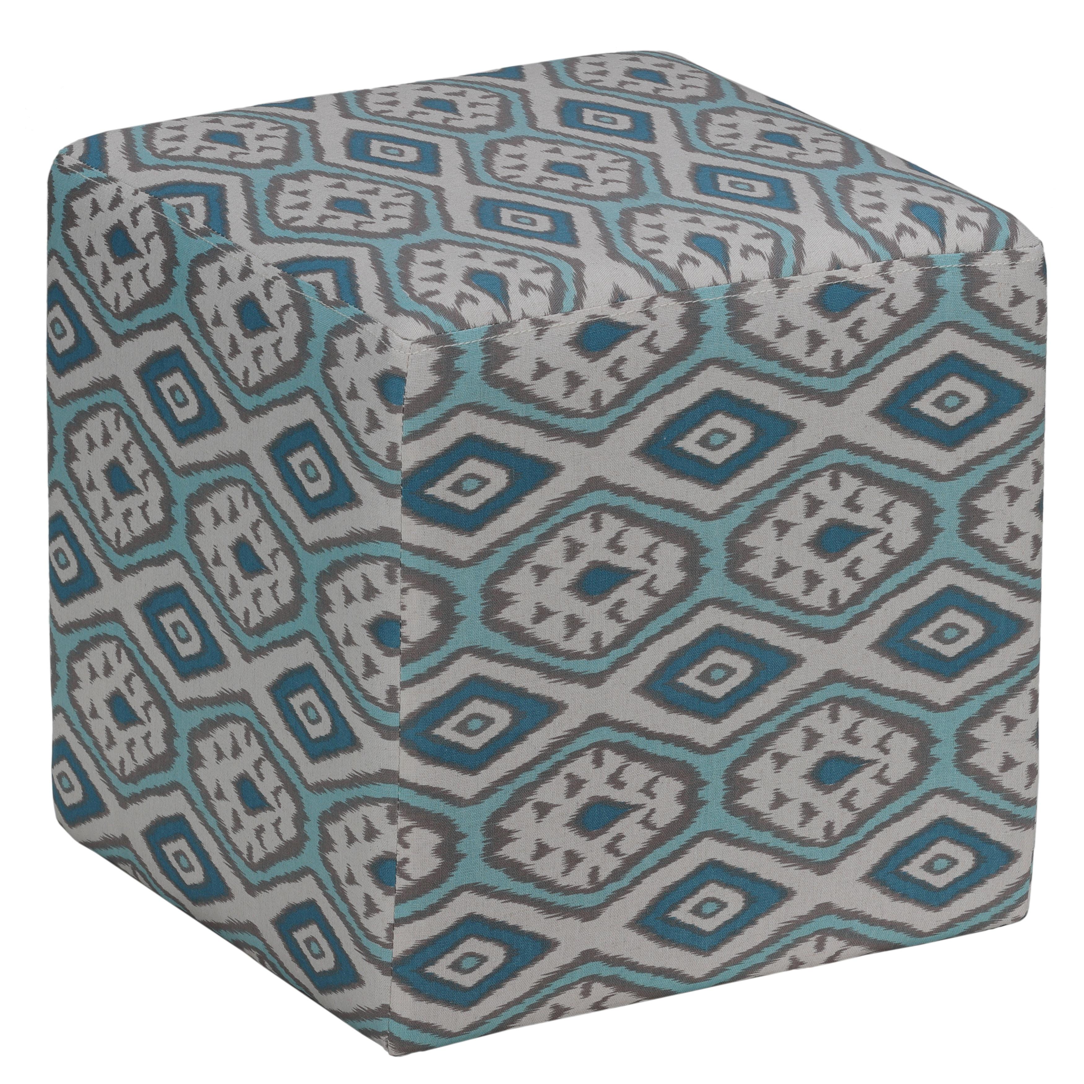 Cortesi Home Braque Ikat Blue Fabric Cube Ottoman (Ikat C...