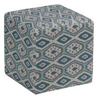Cortesi Home Braque Ikat Blue Fabric Cube Ottoman