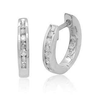 10k White Gold 1/6ct TDW Diamond Hoop Earrings