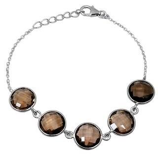 Orchid Jewelry 925 Sterling Silver 25 1/5ct Smoky Quartz Gemstone Bracelet