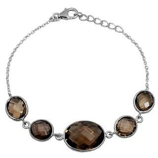 Orchid Jewelry 925 Sterling Silver 25 4/5ct Smoky Quartz Gemstone Bracelet