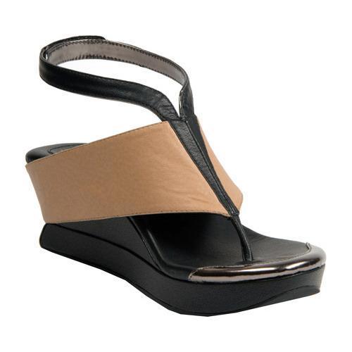 Shop Women S Modzori Bojana Wedge Thong Sandal Beige Black
