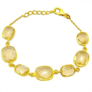 orchid jewelry 34.00ct Genuine Citrine Gold Overlay Sterling Silver Bracelets