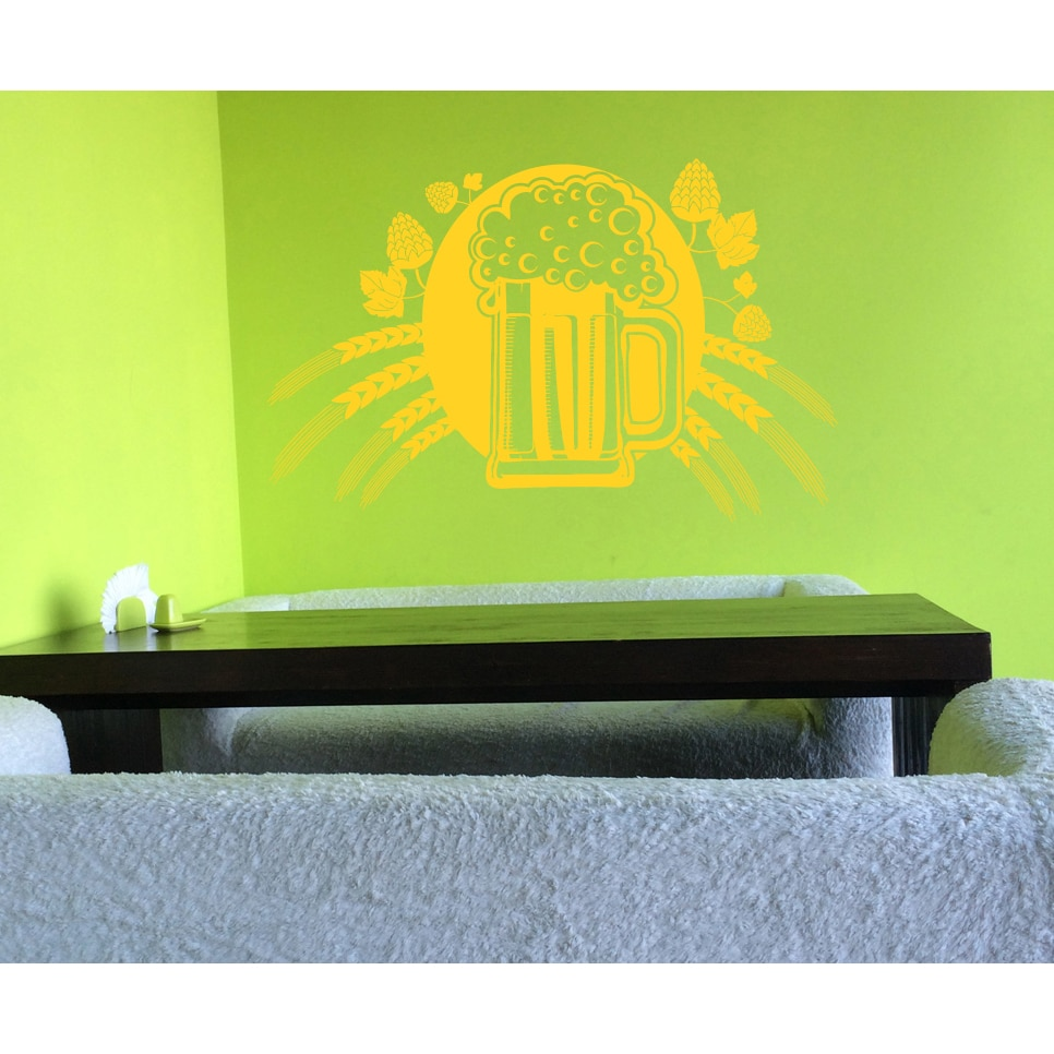 Malt Beer mug hop must Wall Art Sticker Decal Yellow (22 ...