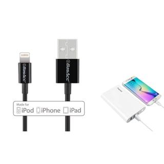 INSTEN Universal White 15000mAh 2-port USB Power Bank/ BasAcc 3.3 feet MFI Apple 8-pin Lightning to USB Sync Cable
