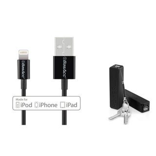 INSTEN Black Portable USB Power Bank with Cable and Keychain/ BasAcc Black/ White 3.3 feet MFI Apple Lightning to USB Sync Cable