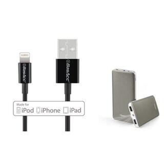 BasAcc Grey 10000mAh 2-port USB Power Bank with LED Indicator/ Black/ White 3.3 feet MFI Apple 8-pin Lightning to USB Sync Cable