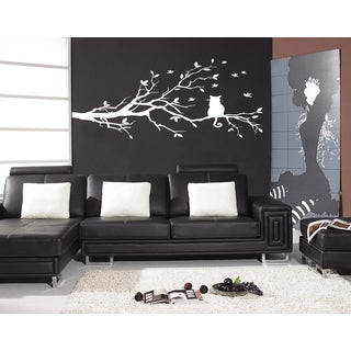 Cat sitting on a branch Wall Art Sticker Decal White
