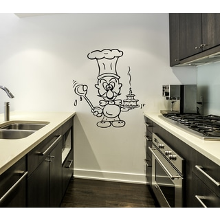 Funny chef with cake Wall Art Sticker Decal