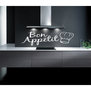 Caption Bon appetit Wall Art Sticker Decal White