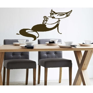 The cat is drinking a cocktail Wall Art Sticker Decal Brown