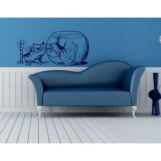 Animal Funny cat aquarium small fish Wall Art Sticker Decal Blue