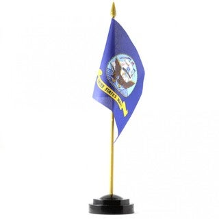 Blue Polyester U.S. Navy Desk Flag With Stand