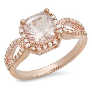 10K Rose Gold Pink Morganite Round Diamond Halo Style Engagement Ring
