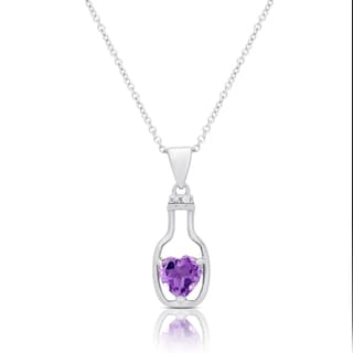 Dolce Giavonna Sterling Silver Amethyst and Diamond Accent Infinity Design Necklace