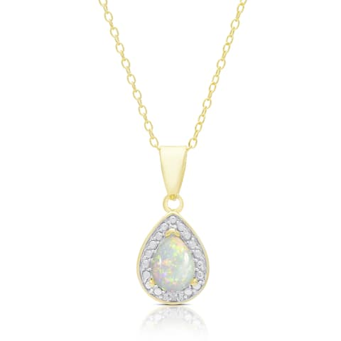 Dolce Giavonna Gold Over Silver Opal and Diamond Accent Pear Necklace