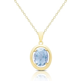 Dolce Giavonna Gold Over Silver Blue Topaz Oval Necklace