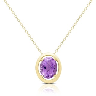 Dolce Giavonna Gold Over Silver Amethyst Oval Necklace