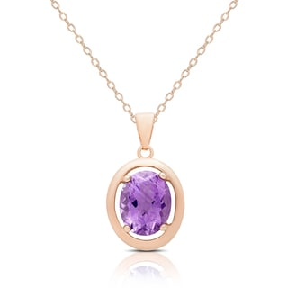 Dolce Giavonna Rose Gold Over Silver Amethyst Oval Necklace