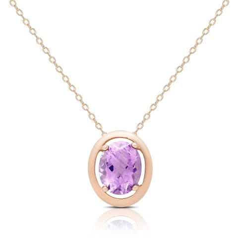 Dolce Giavonna Rose Gold Over Silver Pink Amethyst Oval Necklace