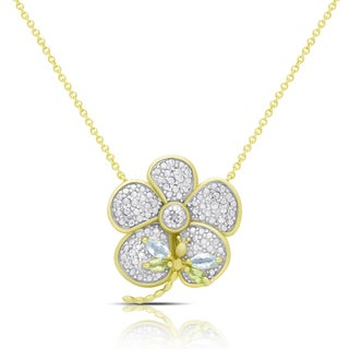 Dolce Giavonna Gold Over Silver Gemstone and Diamond Accent Dragonfly on a Flower Necklace