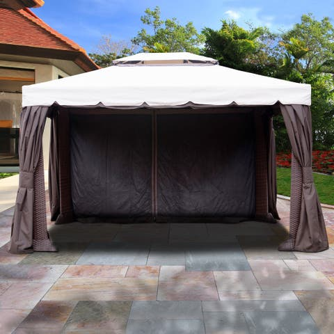 Atlantic 10 ft. W x 12 ft. D Synthetic Wicker and Aluminum Gazebo