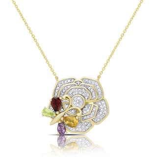Dolce Giavonna Gold Over Silver Gemstone and Diamond Accent Butterfly on a Flower Necklace