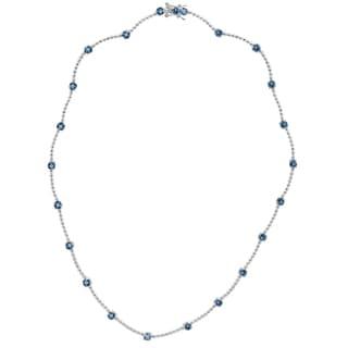 Dolce Giavonna Sterling Silver London Blue Topaz Necklace