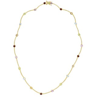 Dolce Giavonna Gold Over Silver Multi Gemstone Necklace