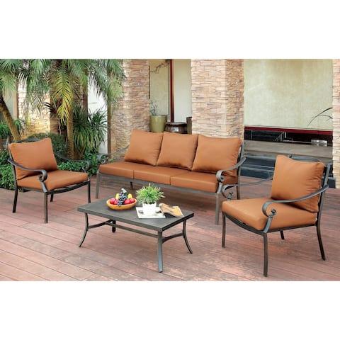 Furniture of America Volla Contemporary Black Fabric Outdoor Sofa