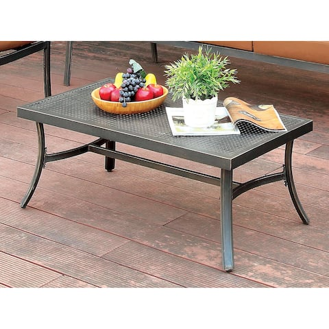 Havenside Home Glouchester Distressed Black Outdoor Coffee Table