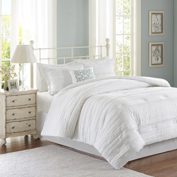 Madison Park Isabella White Queen Size Comforter Set In As Is Item