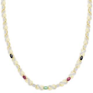 Dolce Giavonna Gold Overlay Multi Gemstone XO Necklace