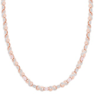 Dolce Giavonna Rose Gold Overlay Simulated Morganite 'XO' Necklace