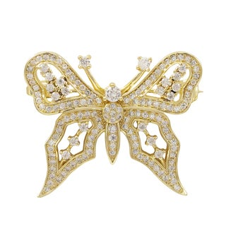 Luxiro Gold Finish Sterling Silver Cubic Zirconia Butterfly Pin Brooch