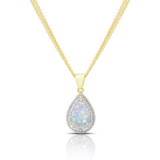 Dolce Giavonna Gold Overlay Opal and Diamond Accent Teardrop Necklace