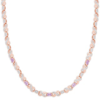 Dolce Giavonna Rose Gold Overlay Amethyst XO Necklace