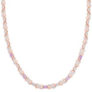 Dolce Giavonna Rose Gold Overlay Amethyst XO Necklace - Rose Gold Overlay Amethyst