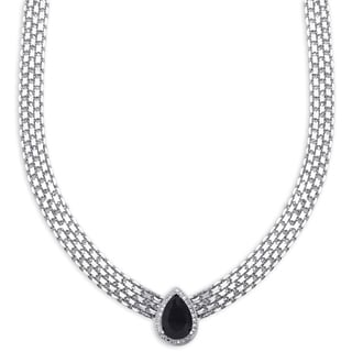 Dolce Giavonna Silver Overlay Pear-cut Sapphire and Diamond Accent Byzantine Necklace