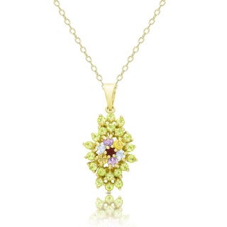 Dolce Giavonna Gold Over Silver Multi Gemstone Flower Necklace