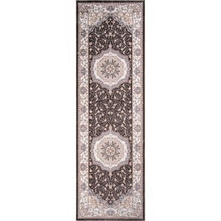 Machine-made Antiquity Center Medallion Charcoal Rayon from Bamboo Rug (2'6 x 7'10)