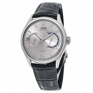 Oris Men's 01 111 7700 4061-Set 1 23 71 'Artelier' Silver Dial Grey Leather Strap Swiss Automatic Watch